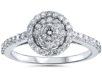 Double Halo .85CT Engagement Ring 10K White Gold