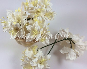 50 White Lily Handmade Mulberry Paper Flowers Wedding Scrapbooking Flowers