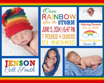 Rainbow Baby Birth Announcement