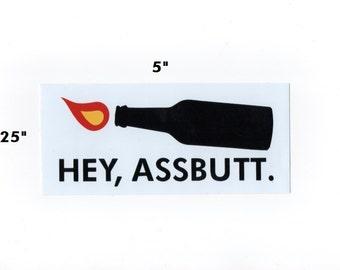 Hey Assbutt Supernatural sticker - castiel decal geek gift