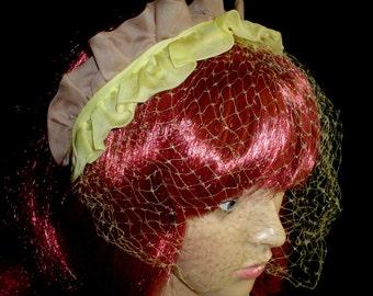 50s Half HAT Net Veil Organza Hairband Cocktail Church Yellow Taupe