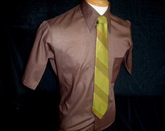 "70s 15 1/2"" 417 Van Heusen Men's Big Collar S/S Tapered Shirt Brown Chartreuse Forsyth Tie"
