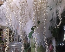 White Pearl Floral Pick Garland One Stem