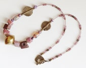 ImAgHaReN Tribal,  Ethnic, primitive  Rough Ruby,  Ceramics and handmade brass Necklace.