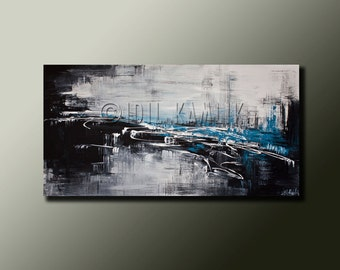 Modern Abstract Original PAINTING Contemporary Fine ART Black and White and Blue by Idil Kamlik