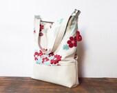 Leather Tote bag Marketbag Shopping bag Daisy Flower beige shoulderbag