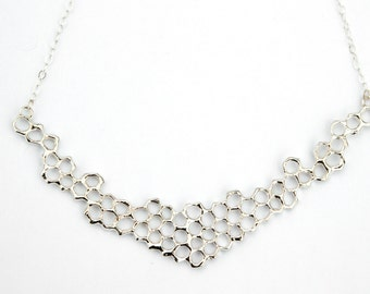 Honeycomb Statement Necklace - Sterling Silver