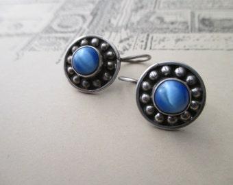vintage sterling silver blue stone earrings - moonstone, pierced, 925