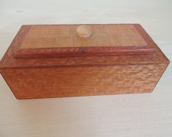 Vintage Wood Box, Trinket Box, Handmade,  Mid Century Modern, Wooden Box, Trinket Box, Mans Jewelry Box, Home Decor,