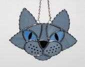 Stained Glass Suncatcher - Cat Head, Blue Grey Cat with Blue Eyes