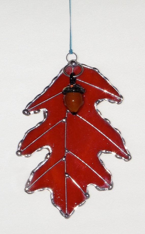 Stained Glass Suncatcher - Fall Red Oak Leaf with Glass Acorn and Wire Accents