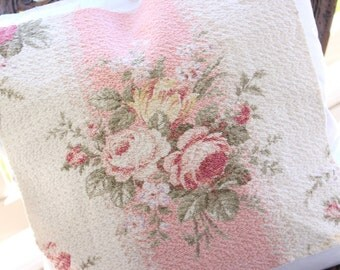 Romantic Cottage Chic Pink Cabbage Rose Floral Vintage Barkcloth Fabric Decorative Throw Pillow