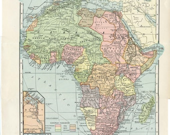 Africa 1906 map Nelson's Perpetual Loose-Leaf Encyclopedia Page