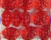 Grape Bunch Fruit Beads 11mm x 14mm Czech Glass - Translucent Red (15)