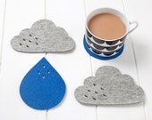 Cloud and Rain coasters - grey mélange and blue wool felt coasters with raindrop detail, set of 4