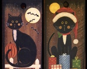 Halloween and Christmas Folk Art Hand Hand Primitive Threadwinder - Reversible Black Cat Paintings Cat with Pumpkins and Cat with Presents