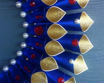 Snow White Inspired Paper Wreath - Blue, Gold, Red, Glitter, Gems, Beads, White, Disney