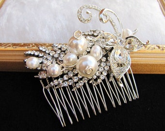 Bridal hair comb in leaf rhinestones overlay South sea pearls, a small bouquet wedding head piece - Julianna - Made to order