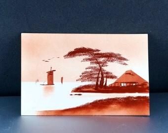 JAPANESE  POSTCARD. hand painted oil painting. japan. oriental. asian. miniature No.002036