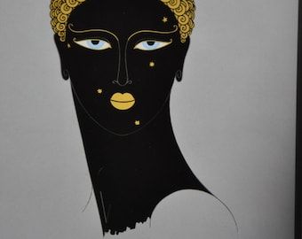 "Classic Art Deco art work by Erte'. 1st edition bookplate print titled ""Queen of Sheba"""