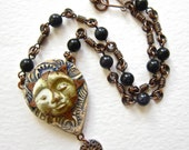 Artisan mixed media necklace, moon face pendant, sun pendant, Bezel set cabochon