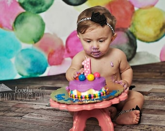 """10"""" Cake Stand Cake Smash Stand Prop Cake Smash Prop Birthday Decor Smash Cake Stand First Birthday Wooden Cake Stand Baby"""