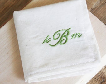 Personalized White or Natural Cocktail Napkins - Add a Monogram or Initial to your Set of 4 Cocktail Napkins - Great Wedding or Shower Gift