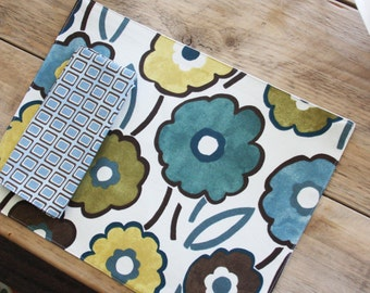 Cloth Placemats - Blue Brown Mustard Large Floral - Set of 4