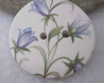 Large Delicate Harebell Flower Motif Ceramic Button