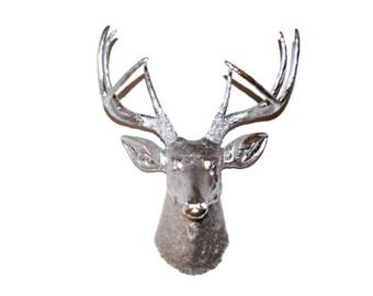 Chrome Deer Head - Deer Head Antlers Fake Taxidermy Wall Mount D1313