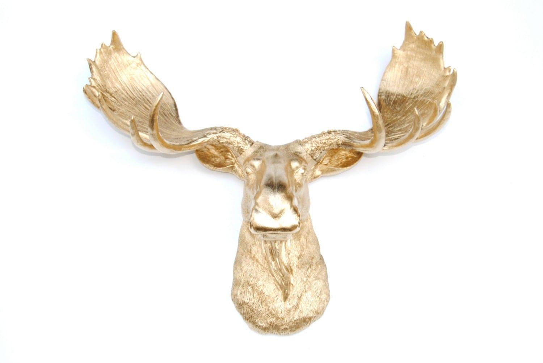 Faux taxidermy gold moose head resin moose wall mount - Fake moose head ...