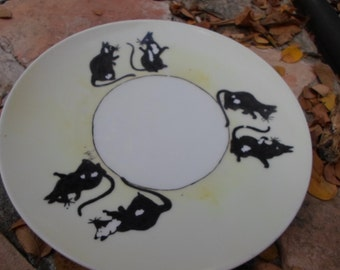 Bavarian Cheese Plate with Hand Painted Rat Design