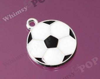 Sporty Soccer Ball Charm, Soccer Ball Pendant, Ball Pendant, 20mm (R6-147)