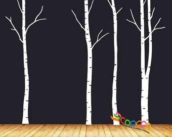 "Wall Decal, wall Stickers ,Tree Wall Decals ,Wall decals, Nursery wall decal, Removable, 96""H, Birch 4 trees DC0202"