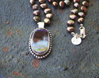 Boulder Opal Oxidized Sterling Silver Beaded Pendant Hand Knotted Silk Freshwater Pearl Necklace