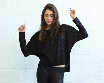 Striped Kimono cut sweater,woman's sweater- Black And Brown.