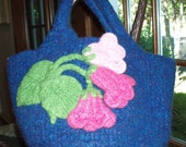 Blue Tote, Boiled Wool, Reserved for Jaggylady