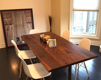 Large Dining Table - Walnut - Industrial Steel Base