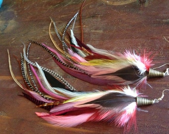 Feather Earrings Grizzly Rose Pink Burgundy Real Feather Earings Unique Spring Feather Jewelry