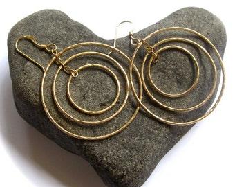 Triple Hoop Earrings, Gold Hammered Hoops, Circles, Elegant Holiday Jewelry, Christmas Gift Idea, Boho Fashion, Handmade Maui