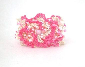 Pink Bracelet, pink jewelry, Beaded cuff bracelet, Seed bead jewelry,  Freeform peyote bracelet, Spring gift for her, Boho bracelet