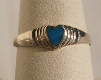 Sterling Silver Turquoise Heart Ring-Size 7