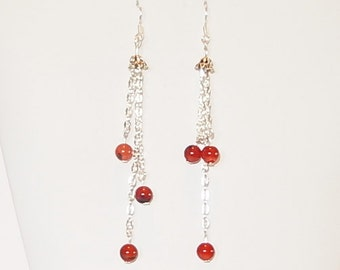 Gemstone earrings with red Agate and Silver chains on Sterling Silver ear wires, Natural stone dangle earrings