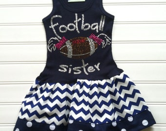 Girls Chevron Dress Girls Dresses Football Outfits Football Clothing Navy Football Dress Girls Kids Baby Toddlers12 18 24 Mo Girls 2 3 4 5