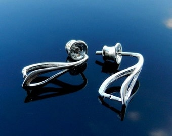 Sterling Silver  Ear Posts with Ear nuts earrings 925 with Pinch Bail for Swarovski Crystals 1 PAIR Nickel Free