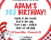 Dr. Seuss Birthday Party Invitation - Customized for you!