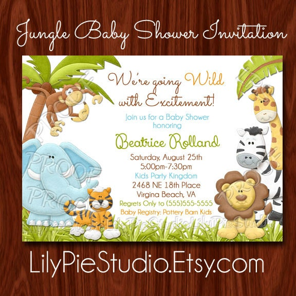 new jungle themed baby shower invitation by lilypiestudio on etsy