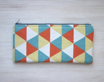 Geometric Pencil case Triangles Orange Blue FunkyBack to school