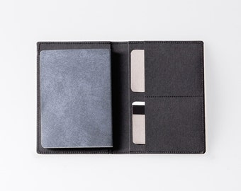 Travel Wallet / Minimalist Washable Paper Passport Sleeve in Punaluu Black / Vegan Paper Passport Sleeve