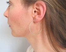 Hoop sterling silver earrings- simple handmade light weight sterling silver earrings